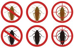 Stop cockroach signs. A set of insect pest control signs. Vector illustration. Royalty Free Stock Photography