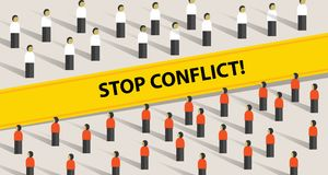 Stop conflict of two crowd mediation problem fight group of people. Vector Royalty Free Stock Image