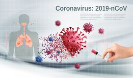Stop Coranavirus concept. Hand holding syringe with vaccine destroying virus COVID