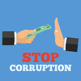 Stop corruption concept. Hand offers money, other hand shows a gesture of refusal, isolated vector illustration Stock Photos