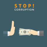 Stop Corruption Illustration. Businessman hand refusing an offering of money from another person Royalty Free Stock Photo