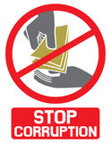 Stop corruption sign. Stop corruption symbol, hand giving money to other hand Stock Photo