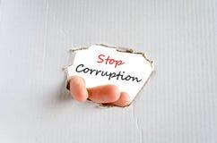 Stop corruption text concept Stock Images