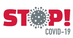 Stop covid-19 with virus icon