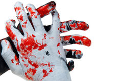 Stop Crime. Black and white colored hands: symbolizing Anger, wildness,savageness,crime, murder ,  etc Stock Image