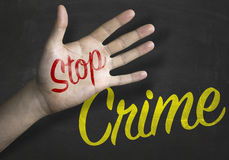 Stop Crime educacional message on blackboard Royalty Free Stock Images