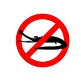 Stop crocodile. Prohibited sign alligator. Ban aquatic reptiles. Carnivore Stock Photography