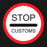 Stop customs sign flat icon. Traffic and road sign, vector graphics, a solid pattern on a black background, eps 10 Stock Images