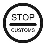 Stop customs sign line icon. Traffic and road sign, vector graphics, a solid pattern on a white background, eps 10 Stock Photo