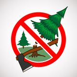 Stop cutting down live trees for Christmas sign Stock Photos