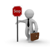 Stop. 3d business man with a stop sign Stock Photography