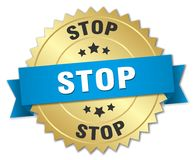 Stop 3d gold badge. With blue ribbon Royalty Free Stock Photo