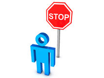 Stop. 3D render of a stick figure in front of big stop sign Stock Photography