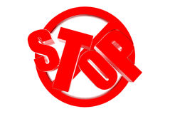 Stop 3D. Stop three dimensional red reflectors placed on the floor stock illustration