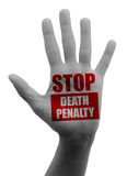 Stop the death penalty, open hand Stock Images