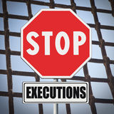 Stop death penalty written on road sign Stock Photography