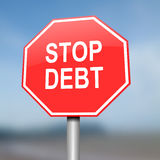 Stop debt concept. Illustration depicting red and white warning road sign with a debt concept. Blurred background Stock Photo