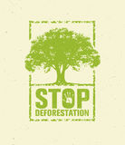 Stop Deforestation Eco Green Banner. Organic Creative Vector Design Concept On Recycled Paper Background With Handprint Stock Photography
