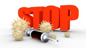 Stop deseases, abstract virus modes and syringe. Abstract virus image on backdrop and stop text. Virus epidemic danger relative illustration. Medical research Royalty Free Stock Photos