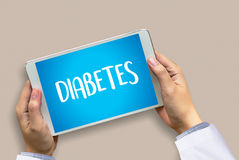STOP DIABETES CONCEPT  against healthy  doctor hand working Prof Royalty Free Stock Photo