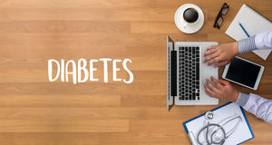 STOP DIABETES CONCEPT  against healthy  doctor hand working Prof Stock Photos