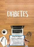 STOP DIABETES CONCEPT  against healthy  doctor hand working Prof Stock Photo