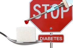 Stop Diabetes. Insulin syringe on white background Stock Image