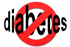 Stop diabetes sign in red. With white background, 3D rendering Stock Image