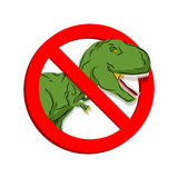 Stop dinosaur. Prohibited tirranozavr Rex.. Crossed-aggressive prehistoric reptile. Emblem against ancient predator. Red prohibition sign. Ban angryl beast Stock Photos
