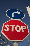Stop and Direction Sign Royalty Free Stock Photos