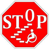Stop Disability Discrimination. Concept sign to guarantee accessibility and barrier free environment for people with impairments Stock Image