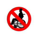 Stop disabled. Prohibited person on wheelchair. Ban for people w Royalty Free Stock Images