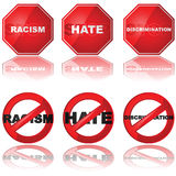 Stop discrimination. Set of icons showing a stop sign and a forbidden sign combined with the words 'racism,' 'hate,' and 'discrimination royalty free illustration