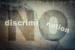 Stop discrimination agains minorities. On grounds of race, sex or religion as text written on a cracked concrete wall showing injustice, unfairness metaphor royalty free illustration