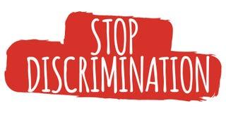 Stop Discrimination Banner. Gender equality Label and Logo. Logo Vector Illustration.  stock illustration