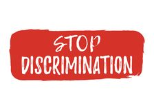 Stop Discrimination label. Font with Brush. Equal Rights Badges. Royalty Free Stock Image