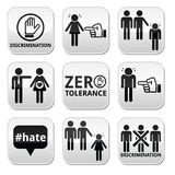 Stop discrimination of men, and women buttons set. Vector buttons set - zero tolerance for discrimination signs isolated on white royalty free illustration