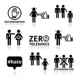 Stop discrimination of men, and women icons set. Vector icons set - zero tolerance for discrimination signs isolated on white Stock Photo