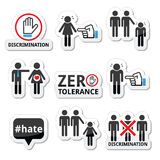 Stop discrimination of men, and women icons set. Vector icons set - zero tolerance for discrimination signs isolated on white Stock Photography