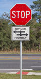 Stop and Divided Highway Sign Royalty Free Stock Photos