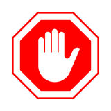 Stop do not enter stop red sign with hand Royalty Free Stock Image