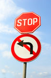 Stop and do not turn left signs Royalty Free Stock Photo