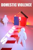 Stop Domestic violence. Wooden figures standing next to house with red light and chevron indicating danger stock photography