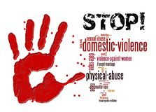 Stop domestic violence against women and girls. Graphic stock illustration