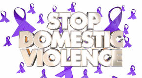 Stop Domestic Violence Awareness Ribbons Prevent Abuse 3d Words Stock Photography