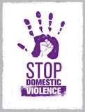 Stop Domestic Violence Stamp. Creative Social Vector Design Element Concept. Hand Print With Fist Inside Grunge Icon. Stock Photography