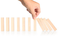 Stop dominoes continuous toppled Stock Images