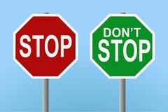 Stop - don't stop signs. Vector of two signs reading'stop' and 'don't stop' on blue background. Vector format is editable to use signs and background as separate Vector Illustration