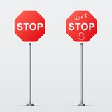 Stop and Dont Stop road sign isolated. Vector illu. Vector illustration of road signs Royalty Free Stock Photo
