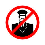 Stop doorman. Red prohibition sign. Ban tip Stock Image